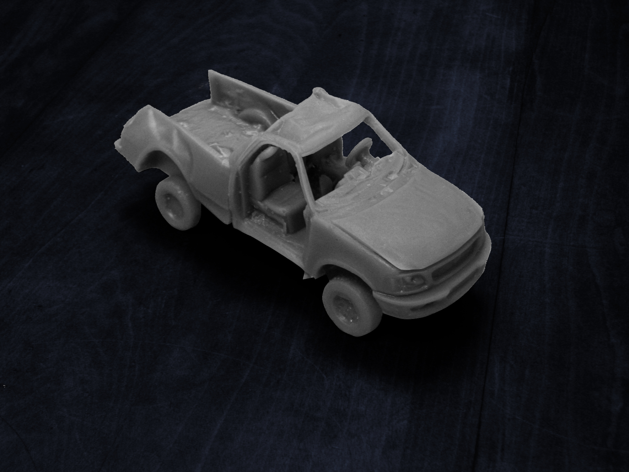 Subject Vehicle 3D Print F15 Pickup: This 3D print was used as a trial exhibit to show that the occupant compartment of the pickup truck stayed intact when the vehicle rolled several times. Had the doors not been ripped off during the accident the occupants may have survived the crash.