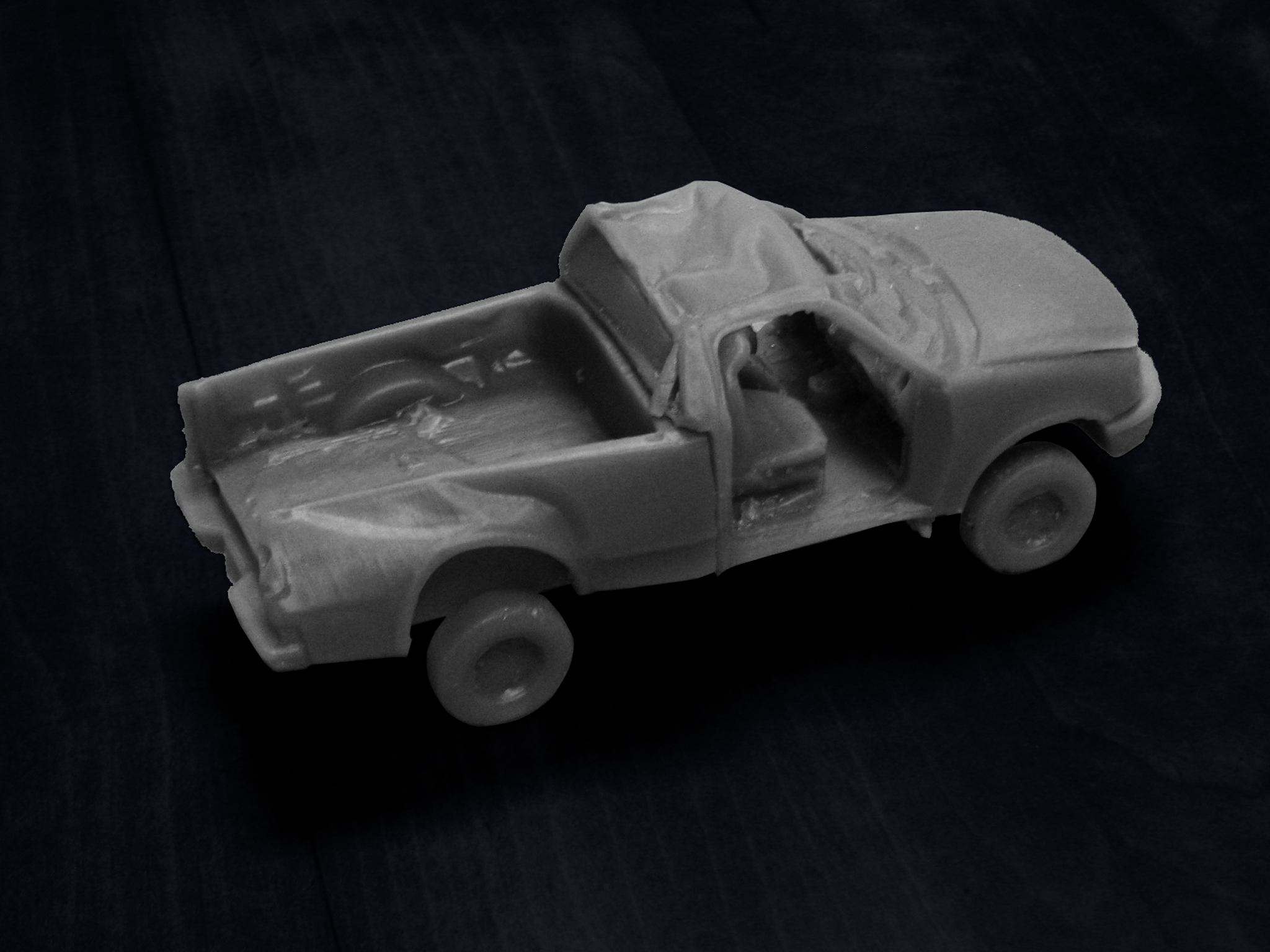 Subject Vehicle 3D Print F15 Pickup: This scale model was derived from the laser scan of a pickup truck that lost control and rolled over several times. It was used as a trial exhibit in court to show that if the doors had stayed intact during the accident the occupants may have survived their injuries.